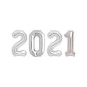 - 2021 Gümüş Gri Folyo Balon Seti (76cm)