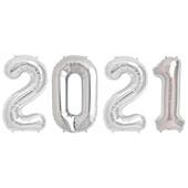 - 2021 Gümüş Gri Folyo Balon Seti
