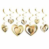 - Altın Sarı 3 Boyutlu Kalpler Tavan Süsü (12 Adet)