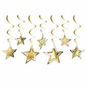 - Altın Sarı 3 Boyutlu Yıldızlar Tavan Süsü