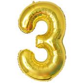 - Altın Sarı ''3'' Rakamı Folyo Balon (100 cm)