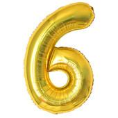 - Altın Sarı ''6'' Rakamı Folyo Balon (100 cm)