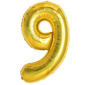 - Altın Sarı ''9'' Rakamı Folyo Balon (100 cm)