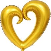 - Altın Sarı Delik Kalp Folyo Balon