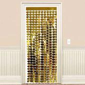 - Altın Sarı Kalpler Kapı - Duvar Folyo Fon Perdesi