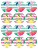 - Ananas ve Flamingo Küçük Etiket