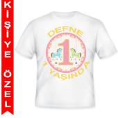 - Atlıkarınca 1 Yaş Kişiye Özel Baskılı T-Shirt