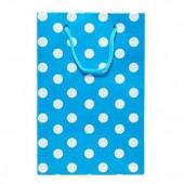 - Beyaz Puanlı Bebek Mavi Karton Çanta