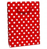 - Beyaz Puanlı Kırmızı Karton Çanta