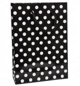 - Beyaz Puanlı Siyah Karton Çanta