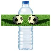 - Futbol Partisi Su Şişesi Etiketi