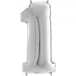 Gümüş Gri ''1'' Rakamı Folyo Balon (100 cm)