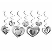 - Gümüş Gri 3 Boyutlu Kalpler Tavan Süsü