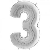 - Gümüş Gri ''3'' Rakamı Folyo Balon (100 cm)