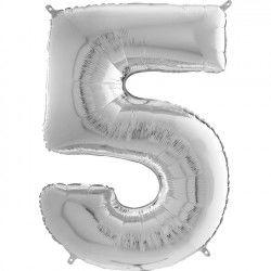 Gümüş Gri ''5'' Rakamı Folyo Balon (100 cm)