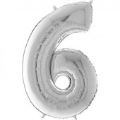 - Gümüş Gri ''6'' Rakamı Folyo Balon (100 cm)