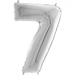 Gümüş Gri ''7'' Rakamı Folyo Balon (100 cm)