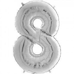 Gümüş Gri ''8'' Rakamı Folyo Balon (100 cm)
