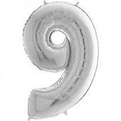 - Gümüş Gri ''9'' Rakamı Folyo Balon (100 cm)