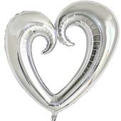 - Gümüş Gri Delik Kalp Folyo Balon