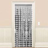 - Gümüş Gri Kalpler Kapı - Duvar Folyo Fon Perdesi
