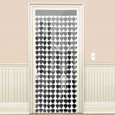 Gümüş Gri Kalpler Kapı - Duvar Folyo Fon Perdesi