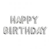 - Happy Birthday Gümüş Gri Harfler Folyo Balon