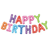 - Happy Birthday Renkli Harfler Folyo Balon