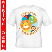 - Hayvan Dostlarım 1 Yaş Kişiye Özel Baskılı T-Shirt