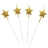 - İnce Uzun Altın Sarı Yıldız Mum (14cm)