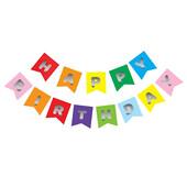 - Karışık Renk Üzeri Gümüş Baskılı Happy Birthday Harf Afiş