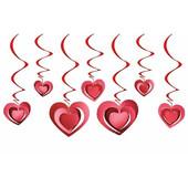 - Kırmızı 3 Boyutlu Kalpler Tavan Süsü (12 Adet)