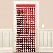 - Kırmızı Kalpler Kapı - Duvar Folyo Fon Perdesi