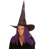 - Kıvırcık Yün Saçlı Mor Cadı Şapkası