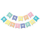 - Makaron Renklerde Hologram Happy Birthday Banner