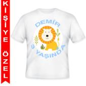 - Mini Safari Aslanlı Kişiye Özel Baskılı T-Shirt