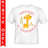 - Mini Safari Zürafalı Kişiye Özel Baskılı T-Shirt