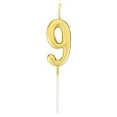 - Altın Sarı 9 Rakamı Mum