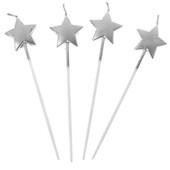 - İnce Uzun Gümüş Gri Yıldız Mum (14cm)