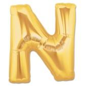 - N Harfi Altın Sarı Folyo Balon