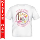 - Neşeli Dostlarım Kız Kişiye Özel Baskılı T-Shirt