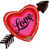 - Oklu Kırmızı Kalp Love Folyo Balon (90cm)