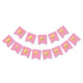 - Pembe Üzeri Altın Baskılı Happy Birthday Harf Afiş