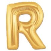 - R Harfi Altın Sarı Folyo Balon