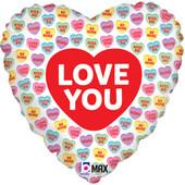 - Renkli Kalpler Baskılı Kalp Folyo Balon (45cm)
