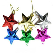 - Renkli Parlak Yıldızlar Ağaç Süsleri
