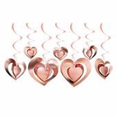- Rose Gold 3 Boyutlu Kalpler Tavan Süsü (12 Adet)