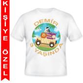 - Safari Macerası Kişiye Özel Baskılı T-Shirt