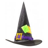 - Saten ve Kadife Yamalı Şık Cadı Şapkası