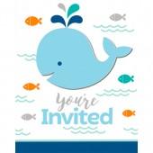 - Sevimli Mavi Balinalar Davetiye Kartı